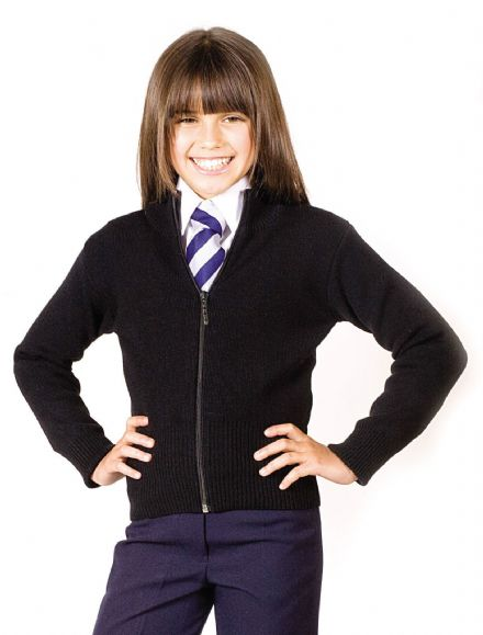 Girls School Wear Girls Ziper Cardigan Full Zip Knitted Stretch Wool Mix